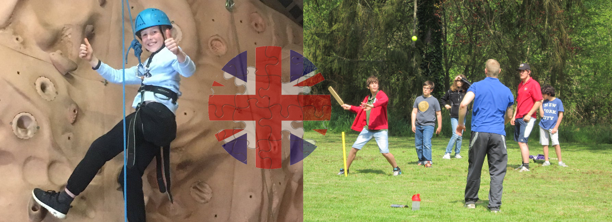 groups d'enfants jouant au cricket a chateau beaumont et garçon souriant en faisant le geste thumbs up pendant l'activite d'escalade en colonie de vacances